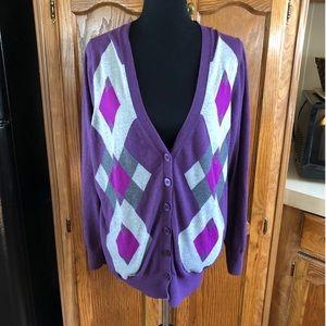 Lane Bryant Purple Argyle Cardigan Sweater 22/24